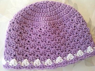 LILAC SHELL PATTERN CROCHET BABY BEANIE 12 to 18 months made in Aus