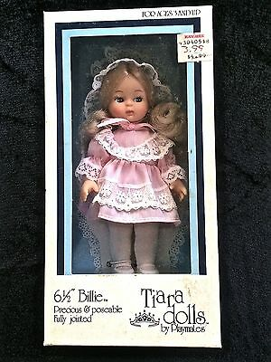 "Cute 6 1/2"" Blonde Billie Playmates Tiara Doll Plastic Jointed 1986 New in Box"