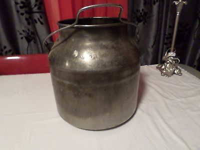 VINTAGE Stainless Steel Pail FOOTED Bucket Can Cream Milk Farm Bucket Decor