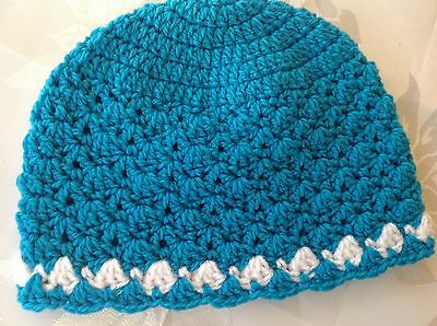 CYAN BLUE PINK SHELL PATTERN CROCHET BABY BEANIE 12 to 18 months made in Aus