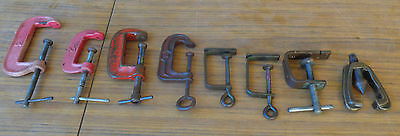 8 Various Vintage Clamps, Mainly G-Clamps, In Good Order