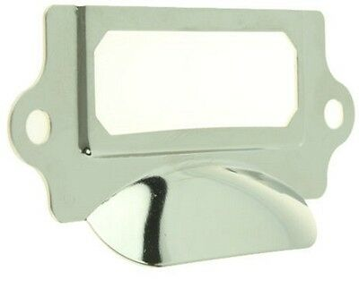 """LABEL HOLDER ~ Nickel Plated ~ Library Style Pull Handle { 3 1/4"""" lg } ~ by  PLD"""