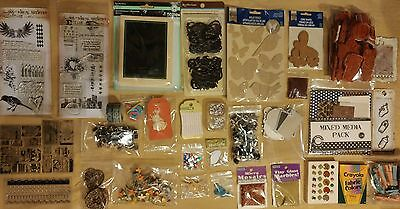 Scrapbooking & Embellishment Lot - Stamps - Paper - Stickers - Washi Tape - Bead