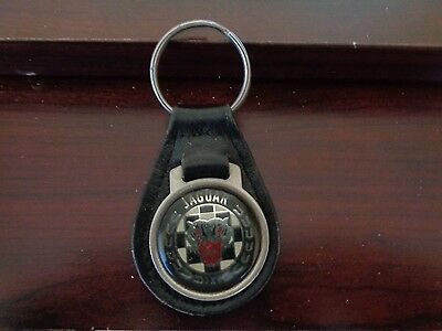 Vintage Jaguar Black Leather Key Chain