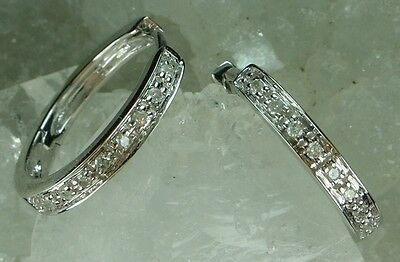 NEW Guaranteed Genuine Solid 9CT White Gold Real Natural Diamond Loop Earrings