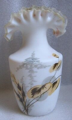 VICTORIAN Era HAND PAINTED Frosted SATIN Glass SILVER CREST RUFFLED VASE w FLAWS