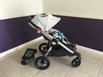 Baby Jogger City Select Stroller + Bassinet + Glider Board + Rain Cover