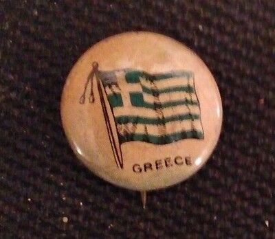 RARE 1917 Flag of Greece Pin - Sealect A Dairy giveaway - 99 yrs. old