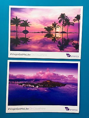2 Virgin America Airlines Post Cards