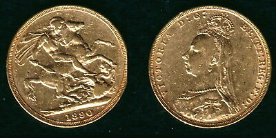 1890 Jubilee Variety Gold Queen Victoria Sovereign--Lustrous Old--High Grade