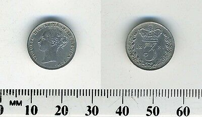 GREAT BRITAIN 1881 - 3 Pence Silver Coin - Queen Victoria
