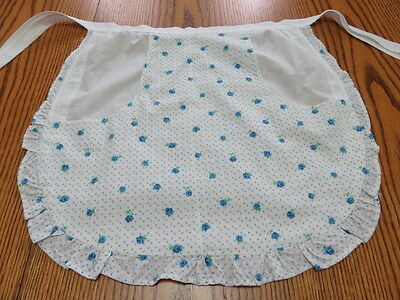 Vintage Half Apron - White And Blue Flower Print Fabric