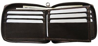 Genuine Leather Men's Zipper Zip-Around Organizer Bifold Wallet Brown AG Wallets