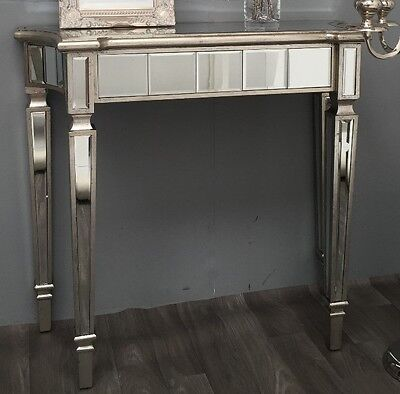 Venetian Glass Console Table Antique Silver Mirrored Hall Wood Dressing Side Leg