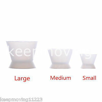 3 Pcs Flexible Dental Lab Silicone Mixing Cup Acrylic NonStick Bowl Dappen Dish