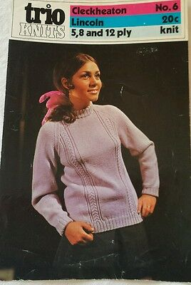 Vintage Retro WOMEN'S Jumper Knitting pattern Trio Knits No 6 Jumpers 5 8 12 ply