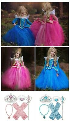 Kids Girls Princess Costume Dress Disney Fairy Tale Dress Up Cinderella Aurora