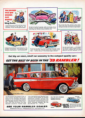 1959 Rambler Car Ad -Rambler American 100 inch wheel base --j1000