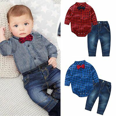 2pcs Newborn Kids Baby Boy Gentleman Clothes Romper Shirt+Jeans Pants Outfit Set