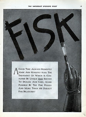 1916 Fisk Tire Ad -100 Direct Branches --[-1111