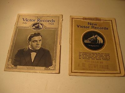 2 ~ Vintage Victor Records Catalogs January 1913 and July 1923
