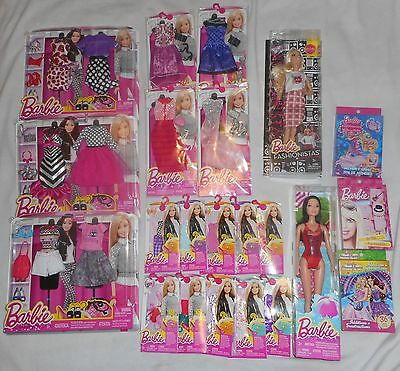 Barbie Dolls With Fashion Clothes, Accessories, & Playing Cards Lot Brand New