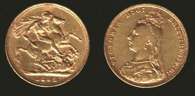 1892 Jubilee Variety Gold Queen Victoria Sovereign--Lustrous Old--High Grade