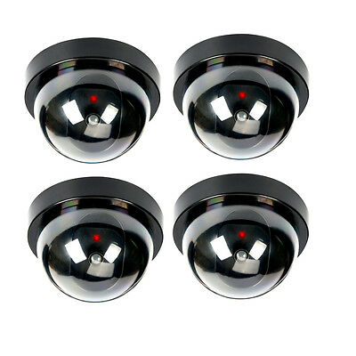 4 Pack Dummy Fake Security CCTV Dome Camera with Flashing Red LED Fake Camera