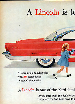 1956 Lincoln car ad--285 HP 2 page ad-[-844