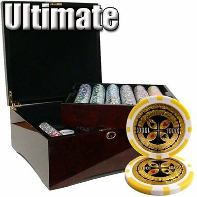 750 Ct Ultimate 14 Gram Poker Chip Set in Mahogany Wooden Case w/ High Gloss ...