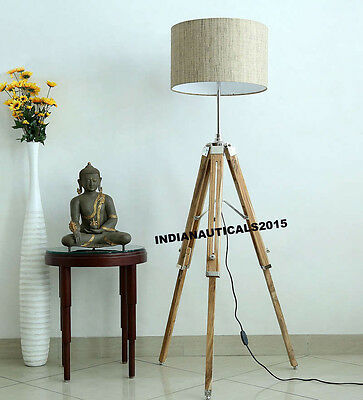 Hollywood Nautical Floor Lamp Wooden Tripod Lighting Stand Shade Fixture Decor