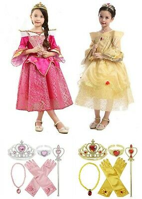 Girls Deluxe Disney Princess Belle Aurora Costume Dress Fairytale Party Cosplay