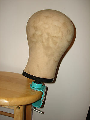 Vintage Millinery Canvas Mannequin Head Block Hat Wig Stand Clamp Maker Form 22