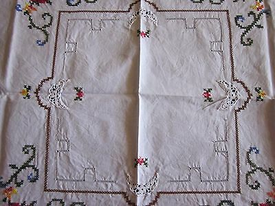 A Hand Embroidered White Supper Cloth 80 X 80 Cm In Good Condition.