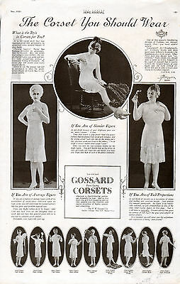 1920 Gossard Corsets ad --Front lacing --From 10 1/2 x 16 Oversized LHJ--b--k601