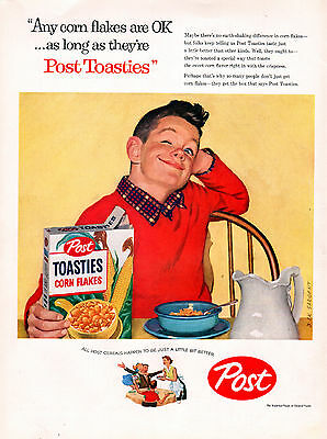1957 Post Toasties Cereal Ad by-- Dick Sargent ---j304