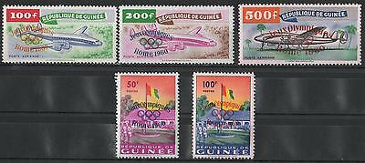 XG-B123 OLYMPIC GAMES - Guinea, 1960 Overprint Rome 60, Italy, Airplanes MNH Set