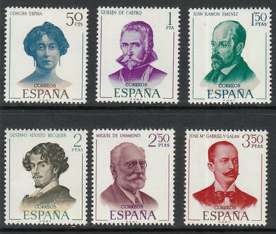 XG-B484 SPAIN - Famous People, 1970 Writers, Jimenez, Unamuno, Espina... MNH Set