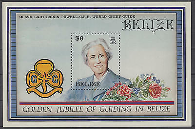 XG-B560 BOY SCOUTS - Belize, 1987 Golden Jubilee Of Guiding, Olave MNH Sheet