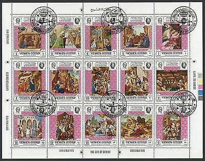 XG-B569 YEMEN - Paul VI, 1969 Visit, Life Of Christ Christmas '70 Used CTO Sheet