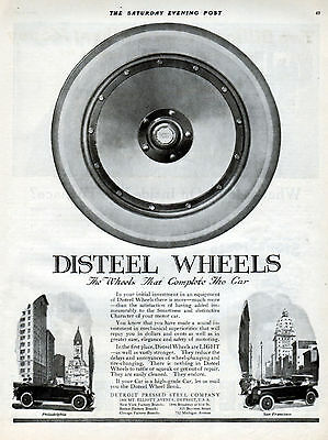 """1919 Disteel Wheels Ad -"""" Complete the Car """"---t533"""