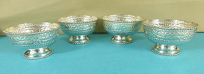 Beautiful Set 4 Sterling Silver Bowls Ice Cream Cups Chased Leaf Flower Ca 1970