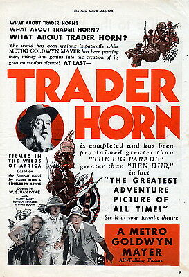 """1931 """"Trader Horn"""" All Talking Picture movie ad -African Trader &  Goddess803"""