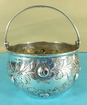 Victorian Sterling Silver Swing Handle Bowl High Relief Chased Leaf Flowers 1890