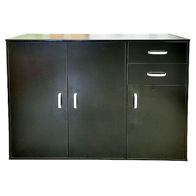 Black Sideboard Cabinet Chest Of Drawers Storage Cupboard Office Home ShelfUnit