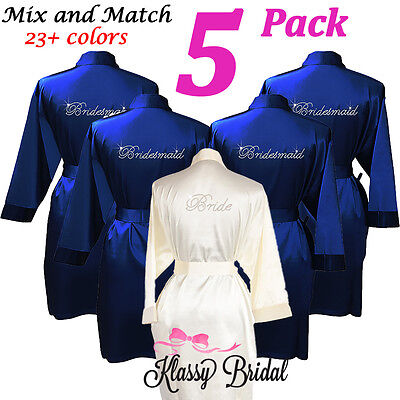 Personalised bridesmaid robes bridal robes bride robe dressing gown cheap 5 PACK