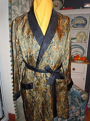 VINTAGE m&s DRESSING GOWN/ROBE/SMOKING JACKET paisley silky tricel 38C