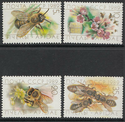 XG-C456 INSECTS - Russia, 1989 Bees, Wasps, 4 Values MNH Set