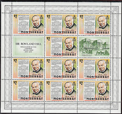 XG-C756 ROWLAND HILL - Montserrat, 1979 Sos, Post Office Regulations MNH Sheet