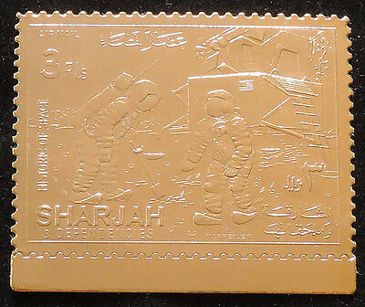 XG-C766 SHARJAH - Space, 1970 History, Astronauts On The Moon, Gold Foil MNH Set